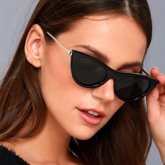 eceda69fc40 Le Specs Accessories - Le Specs ENCHANTRESS BLACK CAT-EYE SUNGLASSES